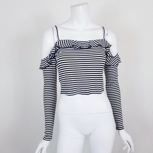 Urban Outfitters Striped Cold Shoulder Crop Top